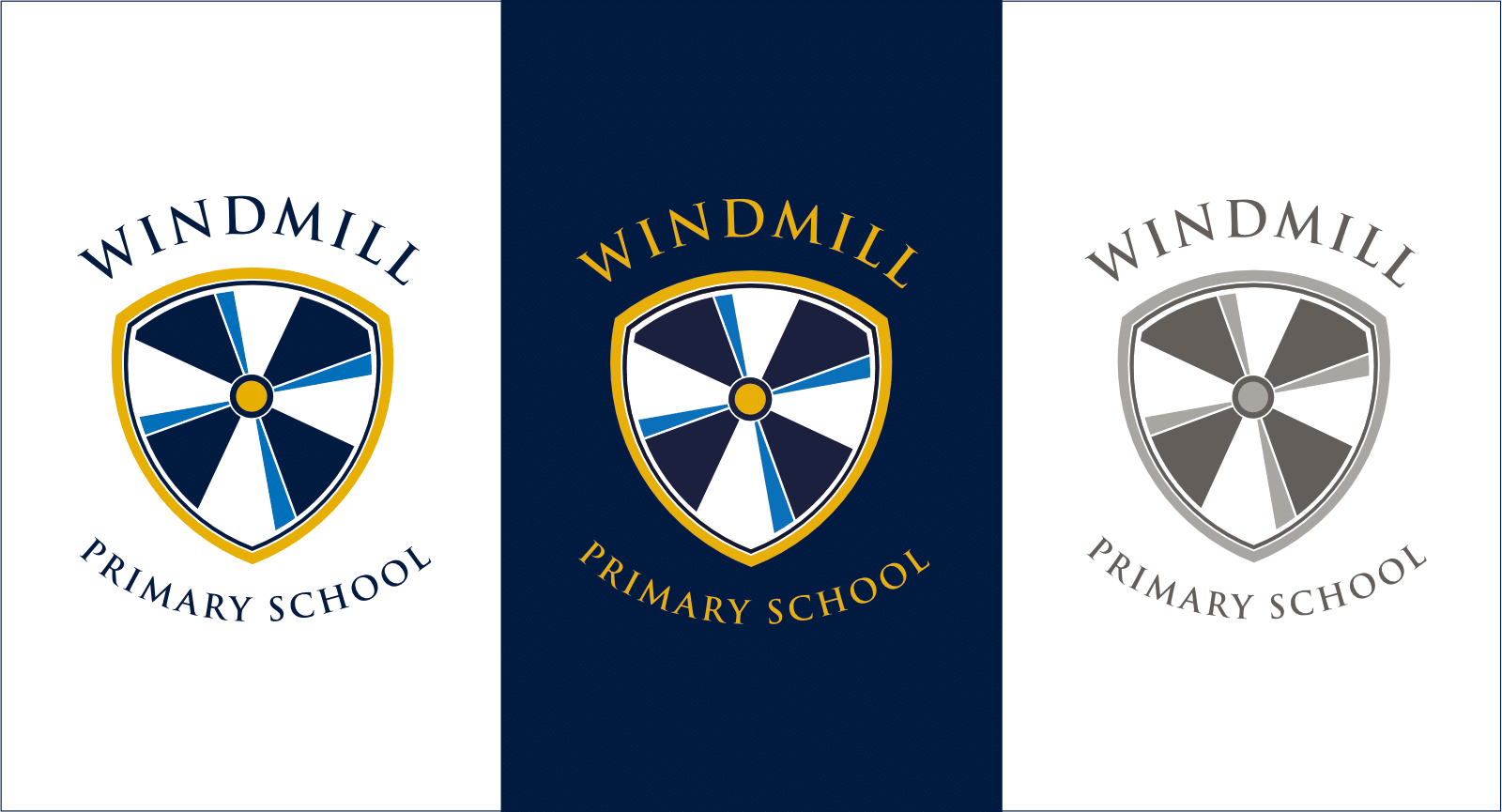 Windmill logo 3 panel
